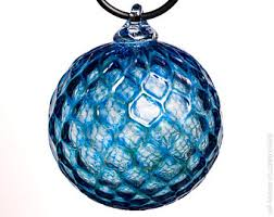 Hand Blown Glass Ornament - Transparent Silver Blue with Diamond Pattern
