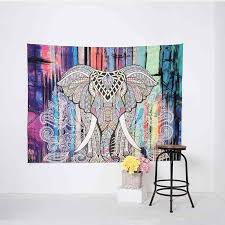 bohemian wall tapestry with elephant print