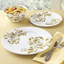 Melamine Dinnerware Designs 3 Pc Round Melamine Dinnerware Set With Gold Pattern An
