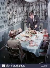 1950er Jahre Familie 5 Sitzen Am Esszimmer Tisch Vater
