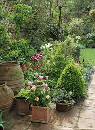 Small Picture Image detail for Small urban garden with pots in Spring UK