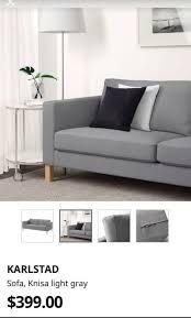 karlstad grey sofa cover ikea brand new