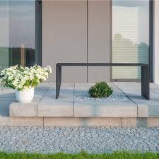 public bench contemporary concrete handmade regular slim