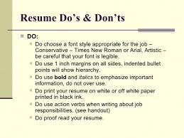 Resume Do And Don Ts The Dos And Don Ts Of Writing A Resume Song Of
