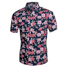 Allegra K Clothing Size Chart Men S Button Down Short Sleeved Floral Shirt Nwt