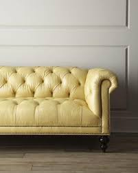 light yellow sofa. Plain Yellow Fenway Tufted Leather Sofa Neiman Marcus Light Yellow Intended A