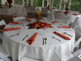 we carry round tables in 60 inches that seat eight guests 48 inch tables that seat six guests and 36 inch tables that can accomodate two to four guests