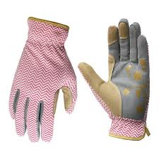 style selections women s medium pink grey leather garden gloves