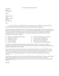 Cover Letter Examples For Internship Sample Science Templates Simple