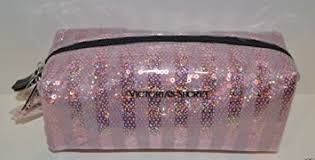 victoria s secret pink stripes bling sequin cosmetic makeup pencil travel case