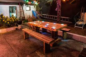 reclaimed wood picnic table with lights