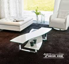modern living room coffee tables most popular design beautiful geometric shape white glass two tiers black