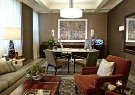 office define. A Pair Of Custom Designed Rugs, Installed Over New Light Grey Stone Tile Floor, Define The Desk And Seating Areas In This Executive Office. Office T