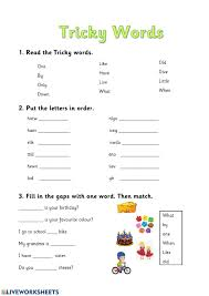 The sight words are both common, frequently used words and foundational words that a combining sight words with phonics instruction increases a child's speed and fluency in reading. Tricky Words Green Level Worksheet