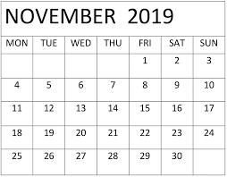 November 2019 Calendar Online Printable Free Latest