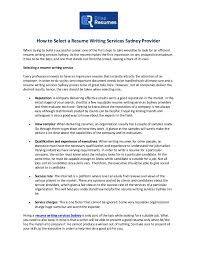 How To Select A Resume Writing Services Sydney Provider Best It Resume Writing Services