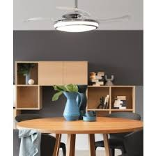 retractable lighting. fanaway evo1 prevail chrome ceiling fan with clear retractable blades and led light lighting