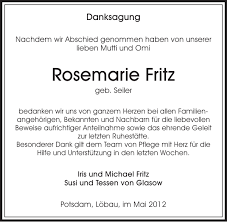 Rosemarie Fritz : Danksagung, Sächsische Zeitung