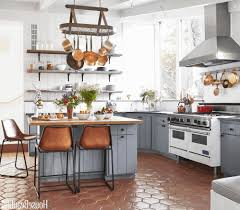 gray kitchen cabinet ideas light brown wooden shelf classy glass chandelier dark brown granite countertop square wooden bar stool with cushion