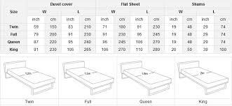 Bed Duvet Size Chart Bed Linen Glamorous Duvet Cover Measurements In Size Chart