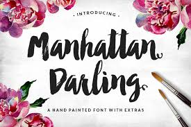 beautiful and bold hand painted font manhattan darling typeface bonus by makeaco on creative market