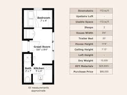 Sq  Ft  Tumbleweed Mica Tiny House On Wheels  Tour Floor Plan   Dimensions  mica   clear tumbleweed tiny house on wheels