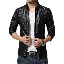 new fashion pu leather jacket men black red brown solid mens trend slim fit youth motorcycle