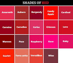 Shades Of Red Color Chart Www Bedowntowndaytona Com