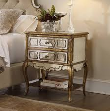Furniture Bold Mirrored Nightstand Antique Silver And Black Crackle Finish  2 Deep Drawers With Aple Storage