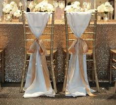 2018 hot white taffeta chair sashes with golden champagne ribbon seqined organza most popular wedding favors long piping wedding decorations from