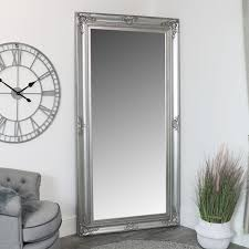 extra large ornate silver wall floor leaner full length mirror 100cm x 200cm