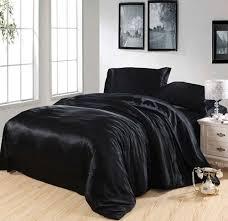 Black Silk Bedding set Satin Cal king size queen quilt duvet cover ... & Black Silk Bedding set Satin Cal king size queen quilt duvet cover fitted  sheets bed in Adamdwight.com
