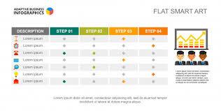Creative Table Chart Four Step Creative Chart Table Process Graph Slide
