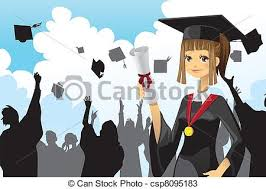 graduation girl holding diploma a vector illustration of a  graduation girl holding diploma vector