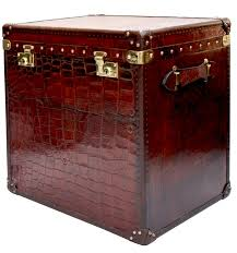 Hammary Hidden Treasures Trunk Coffee Table Leather Look Drawer Trunk End Table Wrivet Details And Antiqued