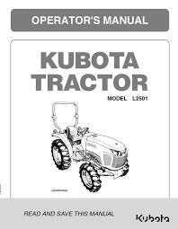 Kubota L2501 Operators Manual