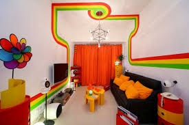 Colorful Bedroom Wall Designs Outstanding Modern Media Room Decors Added Dark Vinyl Sofas And