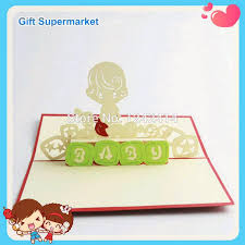 New Baby Congratulation Cards Newborn Baby Boy Handmade Invitation Cards 3d Pop Up Boy Greeting