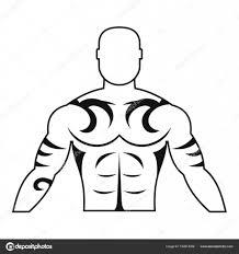 Svalnatý Muž Tetování Ikonu Jednoduché Stock Vektor Ylivdesign