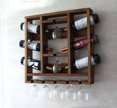 wine glass holder shelf rack wooden hanging rustic decor wall kitchen bottle and