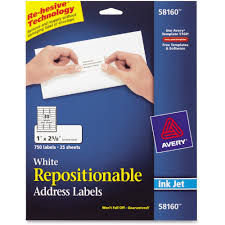avery sheet labels avery repositionable mailing labels removable adhesive 2 5 8 width x 1 length rectangle inkjet white 30 sheet 750 pack