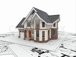 architecture blueprints 3d. Residential House With Tools On Architect Blueprints. Housing Project. 3d, Stock Photo Architecture Blueprints 3d T