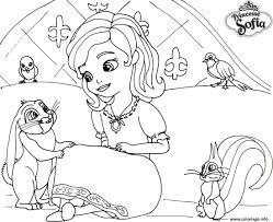 Coloriage Princesse Sofia Sur Son Lit Avec Un Lapin Dessin Princesse Sofia Coloriage L