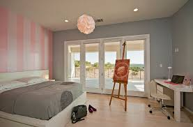 Bedrooms:Beautiful Bedrom With Pink Striped Wall And Modern Comfy Bed Also  Small White Desk