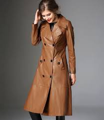 rss boutique brown leather trench coats for women winter coats brown trench coats high quality leather jackets