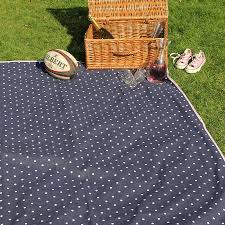 extra large navy polka dot picnic rug
