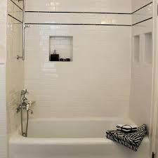 popular subway tile tub surround porcelain bath design idea shower niche picture panel deck kit wall