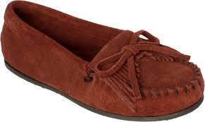 Minnetonka Grace Moccasin Silver Leather Women Shoes