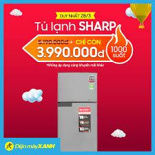 Điện máy XANH (dienmayxanh.com) - 🔥🔥 Tủ lạnh Sharp GIẢM SỐC 💥Duy nhất 1  NGÀY 28/03 💥 GIẢM ngay 1,2 triệu 🎯 Giá chỉ còn: 3.990.000đ 🎁 Tặng thêm 1  năm bảo