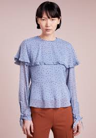 max co decade blouse light blue crew neck 100 polyester mq921e01q k11 notegfw